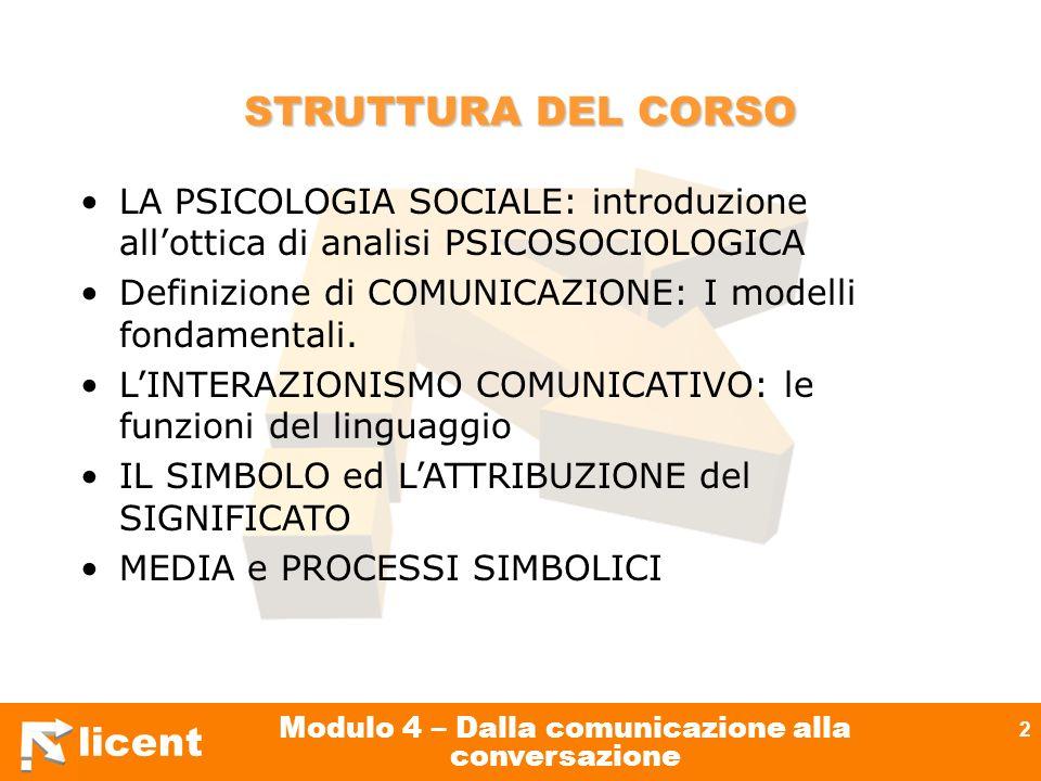 licent Modulo 4 – Dalla comunicazione alla conversazione 2 STRUTTURA DEL CORSO LA PSICOLOGIA SOCIALE: introduzione allottica di analisi PSICOSOCIOLOGI