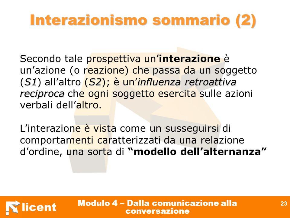 licent Modulo 4 – Dalla comunicazione alla conversazione 23 S1S2influenza retroattiva reciproca Secondo tale prospettiva uninterazione è unazione (o r