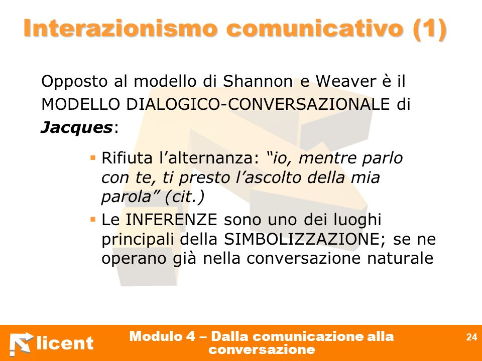 licent Modulo 4 – Dalla comunicazione alla conversazione 24 Interazionismo comunicativo (1) Opposto al modello di Shannon e Weaver è il MODELLO DIALOG