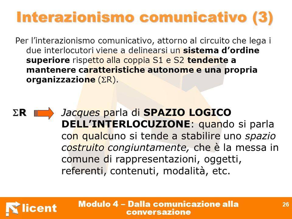 licent Modulo 4 – Dalla comunicazione alla conversazione 26 Interazionismo comunicativo (3) Per linterazionismo comunicativo, attorno al circuito che
