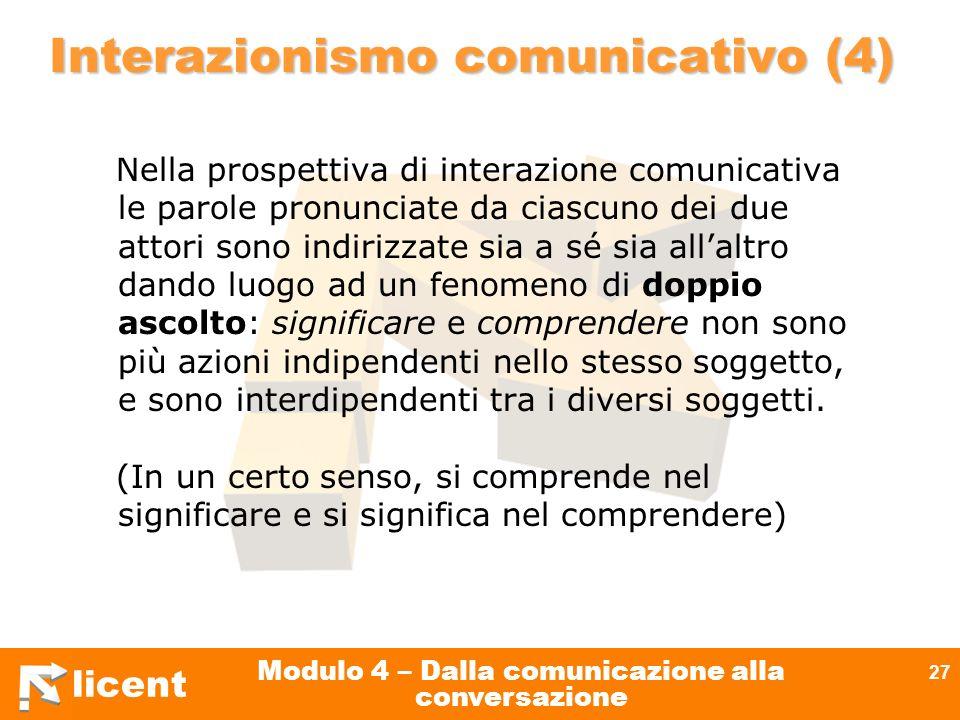 licent Modulo 4 – Dalla comunicazione alla conversazione 27 Interazionismo comunicativo (4) Nella prospettiva di interazione comunicativa le parole pr