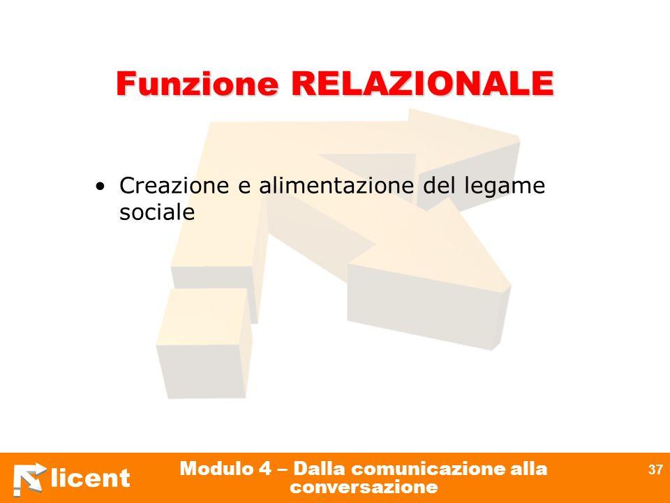 licent Modulo 4 – Dalla comunicazione alla conversazione 37 Funzione RELAZIONALE Creazione e alimentazione del legame sociale
