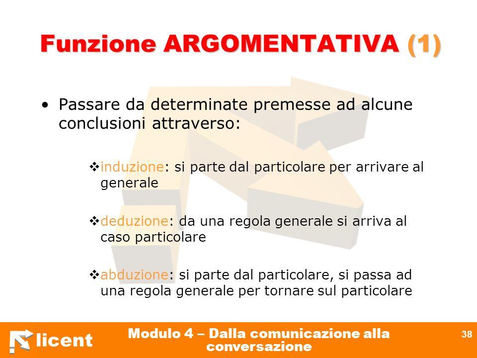 licent Modulo 4 – Dalla comunicazione alla conversazione 38 Funzione ARGOMENTATIVA (1) Passare da determinate premesse ad alcune conclusioni attravers