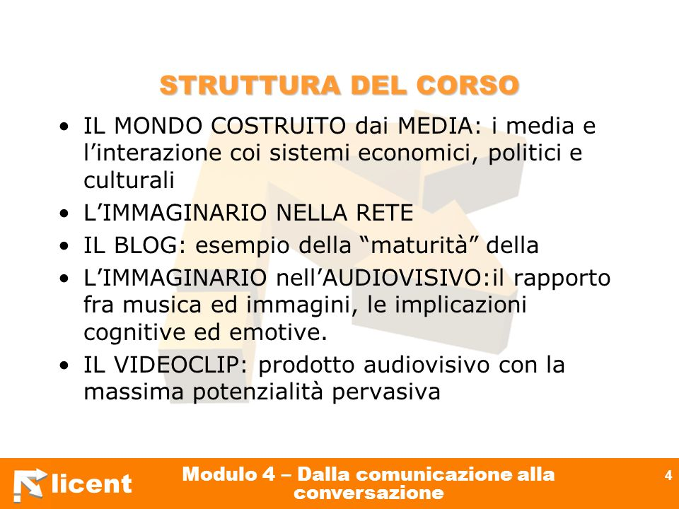 licent Modulo 4 – Dalla comunicazione alla conversazione 4 STRUTTURA DEL CORSO IL MONDO COSTRUITO dai MEDIA: i media e linterazione coi sistemi econom