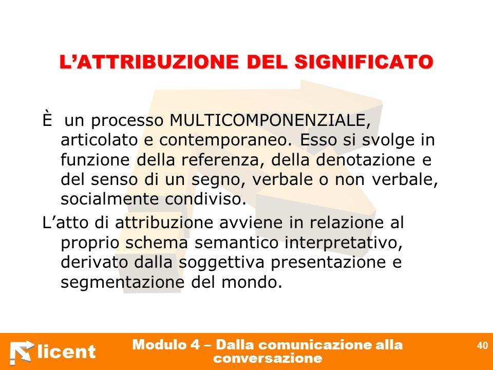 licent Modulo 4 – Dalla comunicazione alla conversazione 40 LATTRIBUZIONE DEL SIGNIFICATO È un processo MULTICOMPONENZIALE, articolato e contemporaneo
