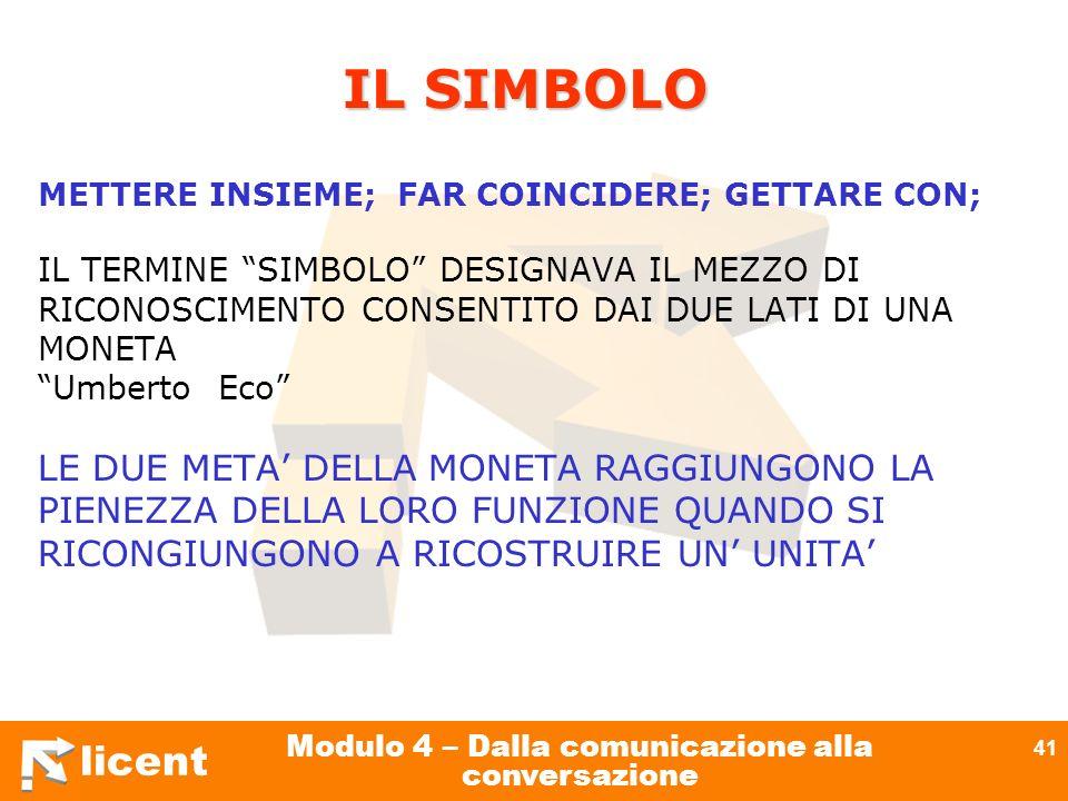 licent Modulo 4 – Dalla comunicazione alla conversazione 41 IL SIMBOLO METTERE INSIEME; FAR COINCIDERE; GETTARE CON; IL TERMINE SIMBOLO DESIGNAVA IL M