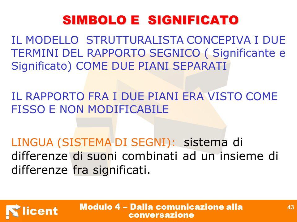licent Modulo 4 – Dalla comunicazione alla conversazione 43 SIMBOLO E SIGNIFICATO SIMBOLO E SIGNIFICATO IL MODELLO STRUTTURALISTA CONCEPIVA I DUE TERM