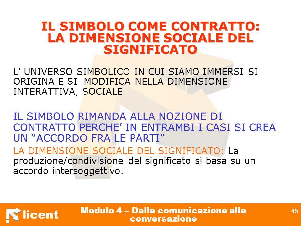licent Modulo 4 – Dalla comunicazione alla conversazione 45 IL SIMBOLO COME CONTRATTO: LA DIMENSIONE SOCIALE DEL SIGNIFICATO L UNIVERSO SIMBOLICO IN C