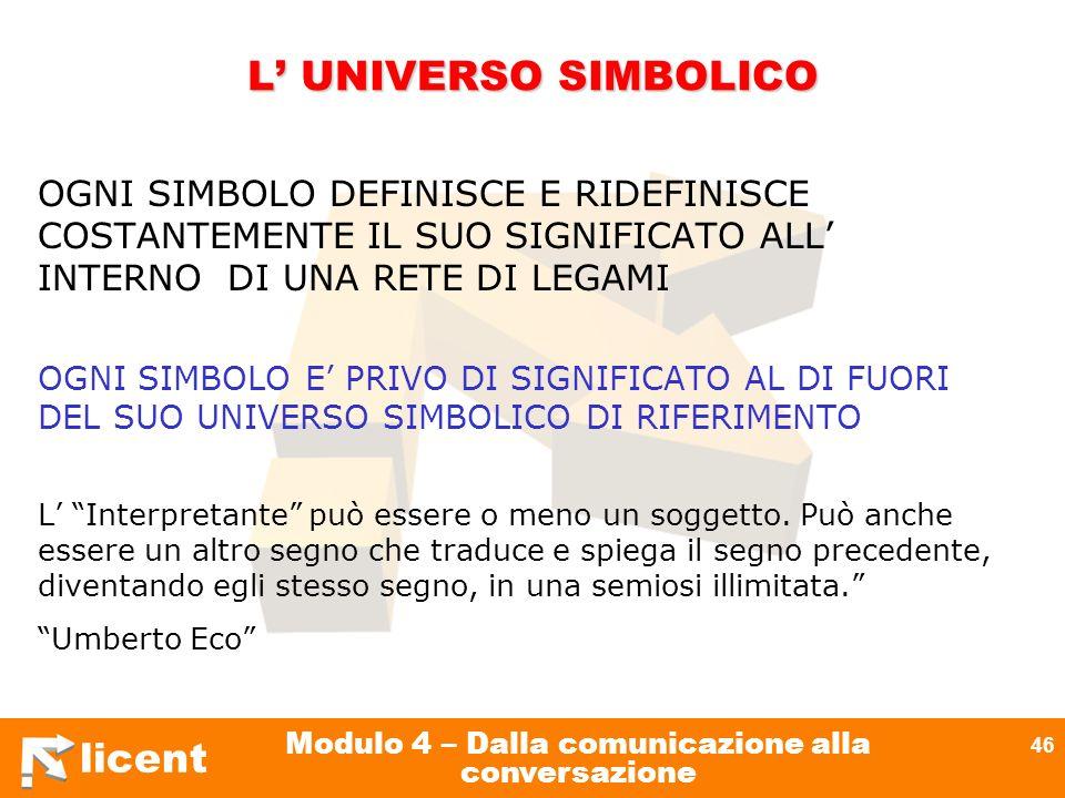licent Modulo 4 – Dalla comunicazione alla conversazione 46 L UNIVERSO SIMBOLICO OGNI SIMBOLO DEFINISCE E RIDEFINISCE COSTANTEMENTE IL SUO SIGNIFICATO