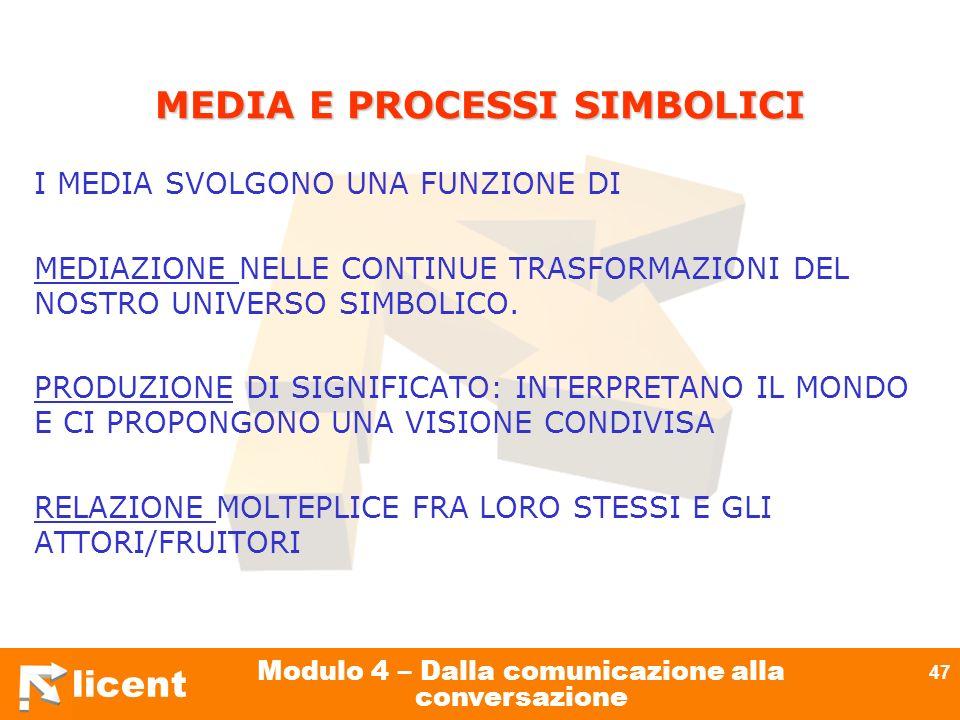 licent Modulo 4 – Dalla comunicazione alla conversazione 47 MEDIA E PROCESSI SIMBOLICI I MEDIA SVOLGONO UNA FUNZIONE DI MEDIAZIONE NELLE CONTINUE TRAS