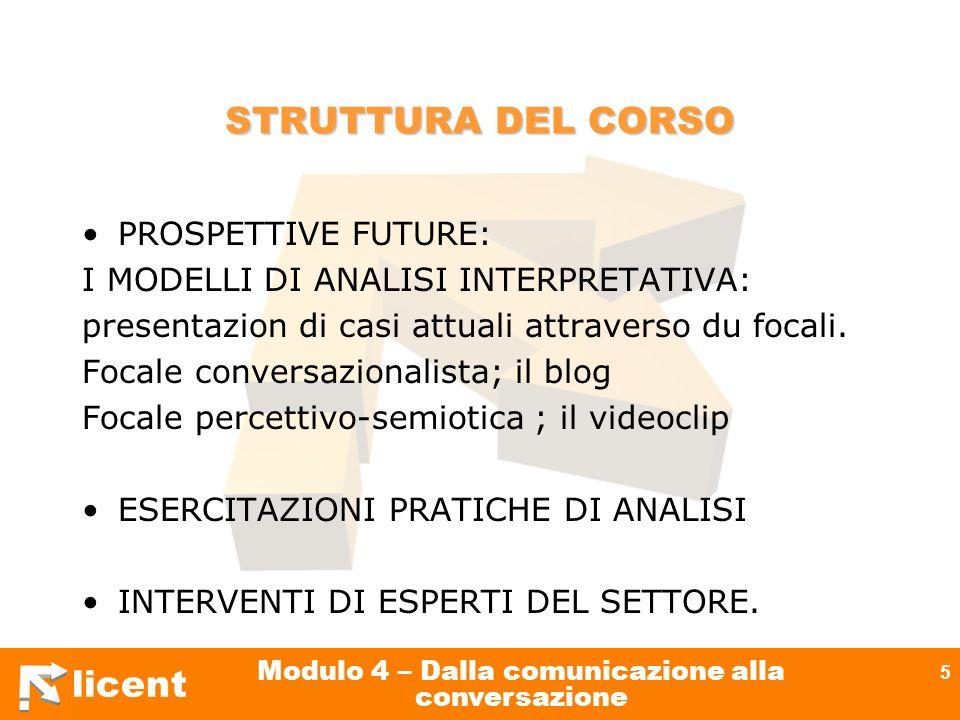 licent Modulo 4 – Dalla comunicazione alla conversazione 5 STRUTTURA DEL CORSO PROSPETTIVE FUTURE: I MODELLI DI ANALISI INTERPRETATIVA: presentazion d