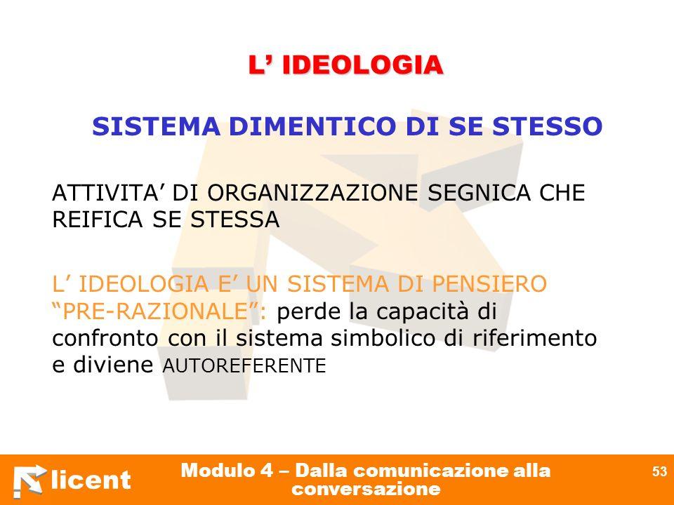 licent Modulo 4 – Dalla comunicazione alla conversazione 53 L IDEOLOGIA SISTEMA DIMENTICO DI SE STESSO ATTIVITA DI ORGANIZZAZIONE SEGNICA CHE REIFICA