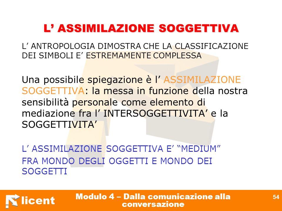 licent Modulo 4 – Dalla comunicazione alla conversazione 54 L ASSIMILAZIONE SOGGETTIVA L ANTROPOLOGIA DIMOSTRA CHE LA CLASSIFICAZIONE DEI SIMBOLI E ES