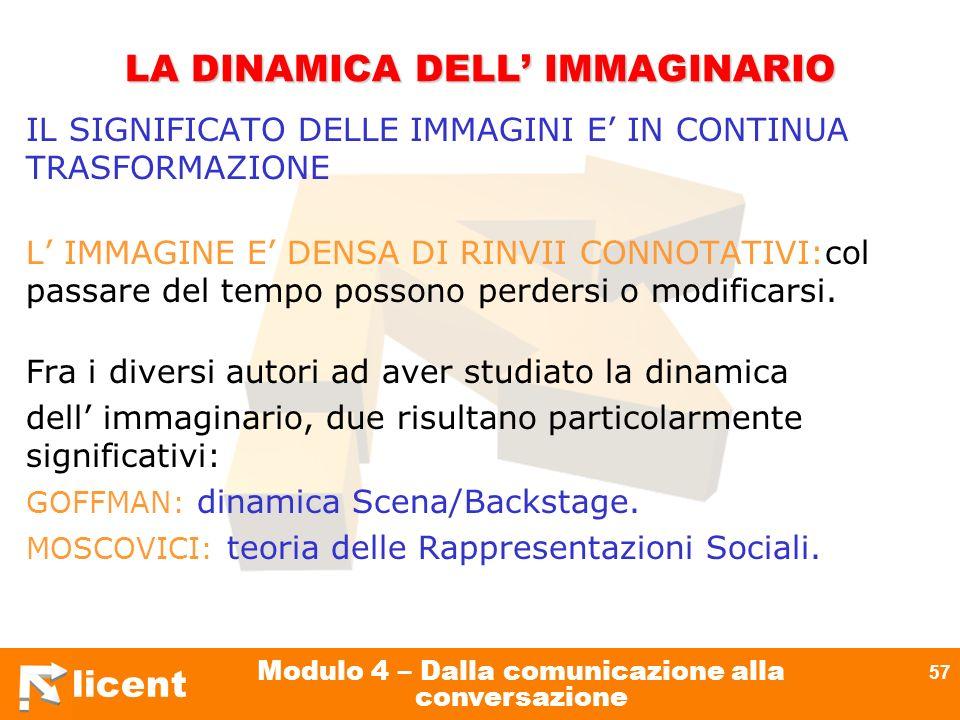 licent Modulo 4 – Dalla comunicazione alla conversazione 57 LA DINAMICA DELL IMMAGINARIO IL SIGNIFICATO DELLE IMMAGINI E IN CONTINUA TRASFORMAZIONE L