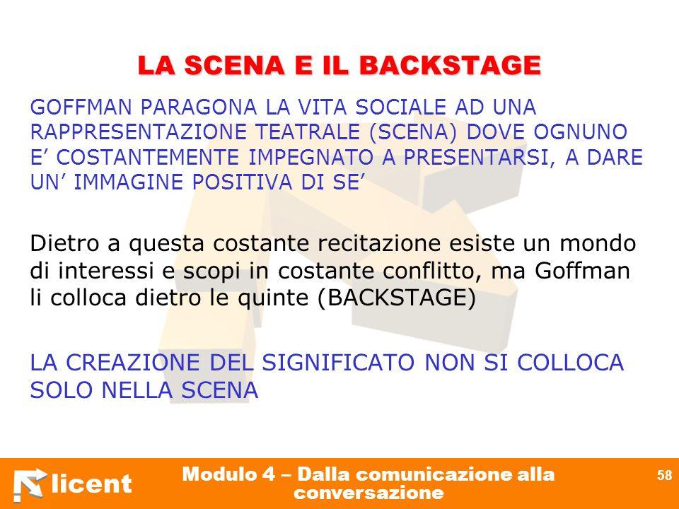 licent Modulo 4 – Dalla comunicazione alla conversazione 58 LA SCENA E IL BACKSTAGE GOFFMAN PARAGONA LA VITA SOCIALE AD UNA RAPPRESENTAZIONE TEATRALE