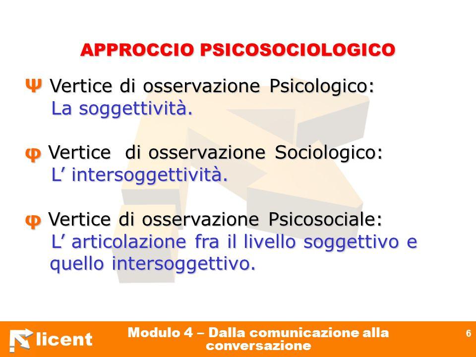 licent Modulo 4 – Dalla comunicazione alla conversazione 6 APPROCCIO PSICOSOCIOLOGICO Ψ Vertice di osservazione Psicologico: La soggettività. La sogge
