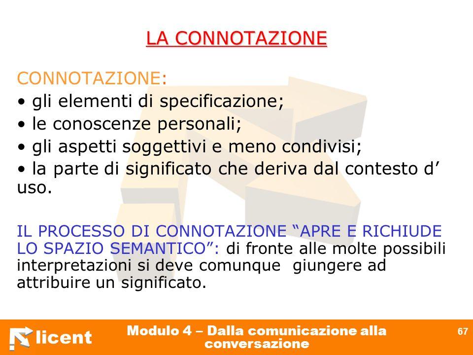 licent Modulo 4 – Dalla comunicazione alla conversazione 67 LA CONNOTAZIONE CONNOTAZIONE: gli elementi di specificazione; le conoscenze personali; gli