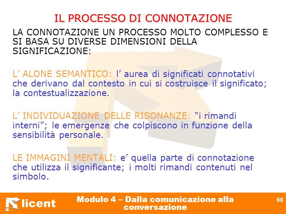 licent Modulo 4 – Dalla comunicazione alla conversazione 68 IL PROCESSO DI CONNOTAZIONE LA CONNOTAZIONE UN PROCESSO MOLTO COMPLESSO E SI BASA SU DIVER