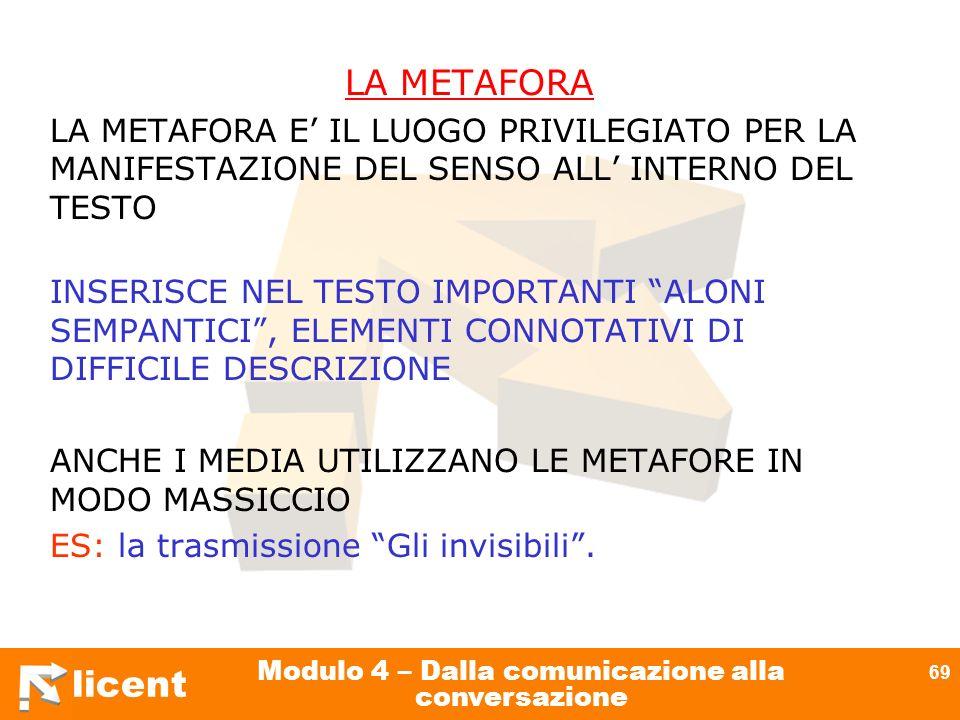 licent Modulo 4 – Dalla comunicazione alla conversazione 69 LA METAFORA LA METAFORA E IL LUOGO PRIVILEGIATO PER LA MANIFESTAZIONE DEL SENSO ALL INTERN