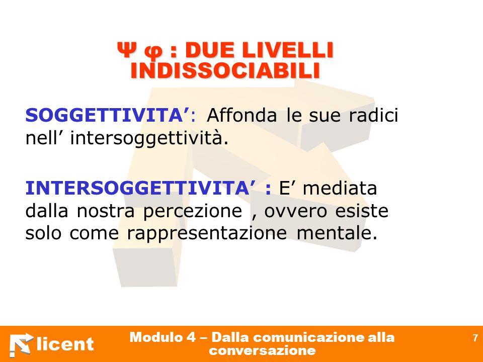 licent Modulo 4 – Dalla comunicazione alla conversazione 7 Ψ φ : DUE LIVELLI INDISSOCIABILI SOGGETTIVITA: Affonda le sue radici nell intersoggettività