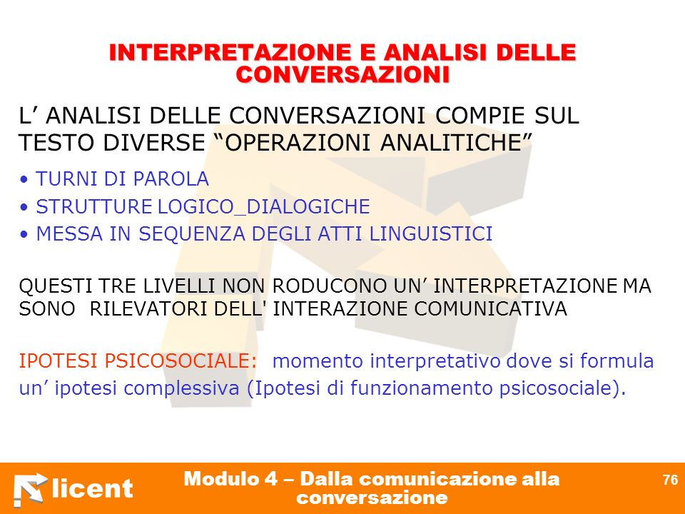 licent Modulo 4 – Dalla comunicazione alla conversazione 76 INTERPRETAZIONE E ANALISI DELLE CONVERSAZIONI L ANALISI DELLE CONVERSAZIONI COMPIE SUL TES