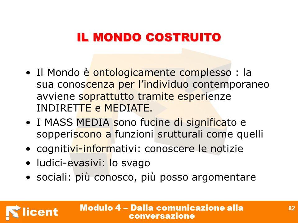 licent Modulo 4 – Dalla comunicazione alla conversazione 82 IL MONDO COSTRUITO Il Mondo è ontologicamente complesso : la sua conoscenza per lindividuo