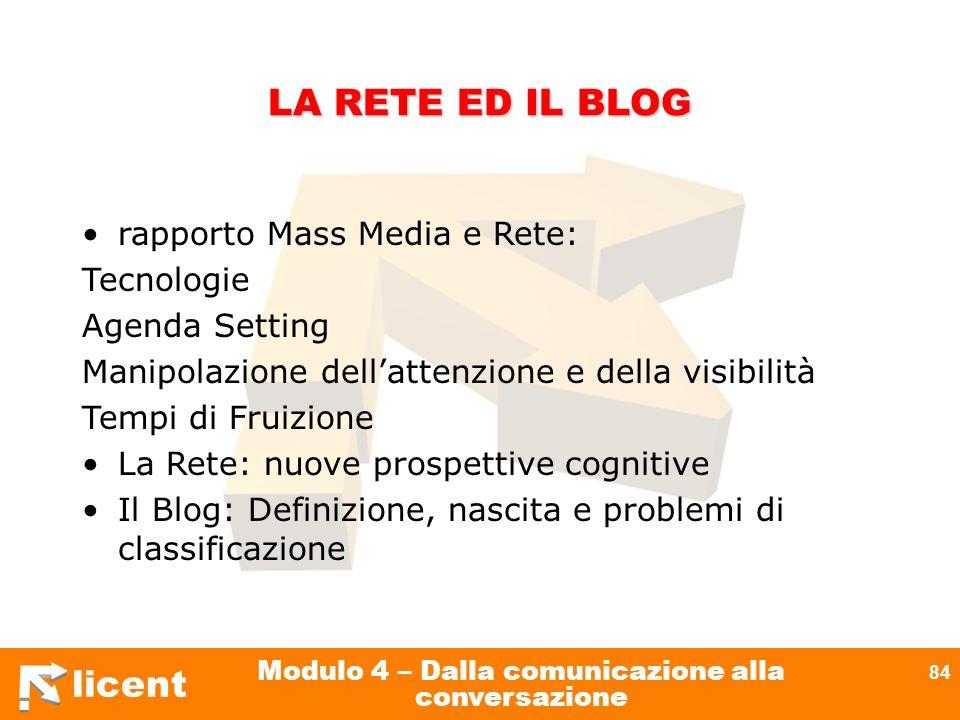 licent Modulo 4 – Dalla comunicazione alla conversazione 84 LA RETE ED IL BLOG rapporto Mass Media e Rete: Tecnologie Agenda Setting Manipolazione del
