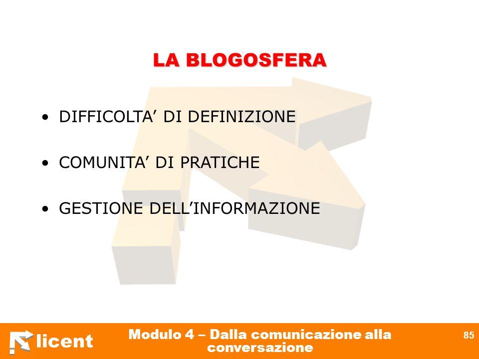 licent Modulo 4 – Dalla comunicazione alla conversazione 85 LA BLOGOSFERA DIFFICOLTA DI DEFINIZIONE COMUNITA DI PRATICHE GESTIONE DELLINFORMAZIONE