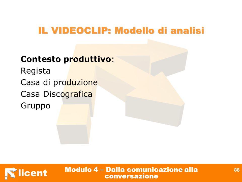 licent Modulo 4 – Dalla comunicazione alla conversazione 88 IL VIDEOCLIP: Modello di analisi Contesto produttivo: Regista Casa di produzione Casa Disc