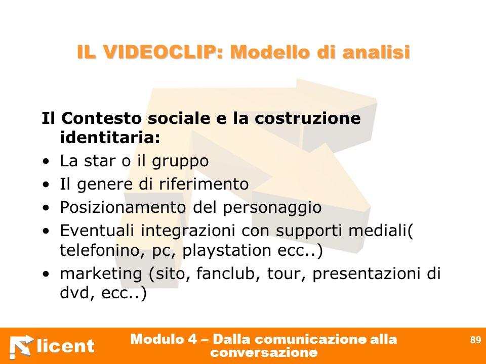 licent Modulo 4 – Dalla comunicazione alla conversazione 89 IL VIDEOCLIP: Modello di analisi Il Contesto sociale e la costruzione identitaria: La star