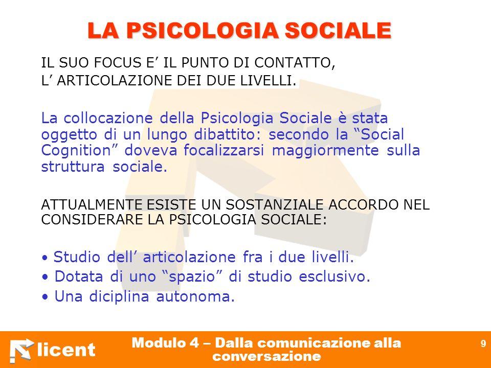 licent Modulo 4 – Dalla comunicazione alla conversazione 9 LA PSICOLOGIA SOCIALE IL SUO FOCUS E IL PUNTO DI CONTATTO, L ARTICOLAZIONE DEI DUE LIVELLI.