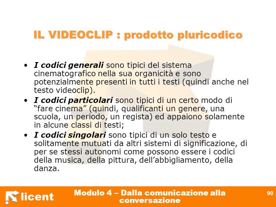licent Modulo 4 – Dalla comunicazione alla conversazione 90 IL VIDEOCLIP : prodotto pluricodico I codici generali sono tipici del sistema cinematograf