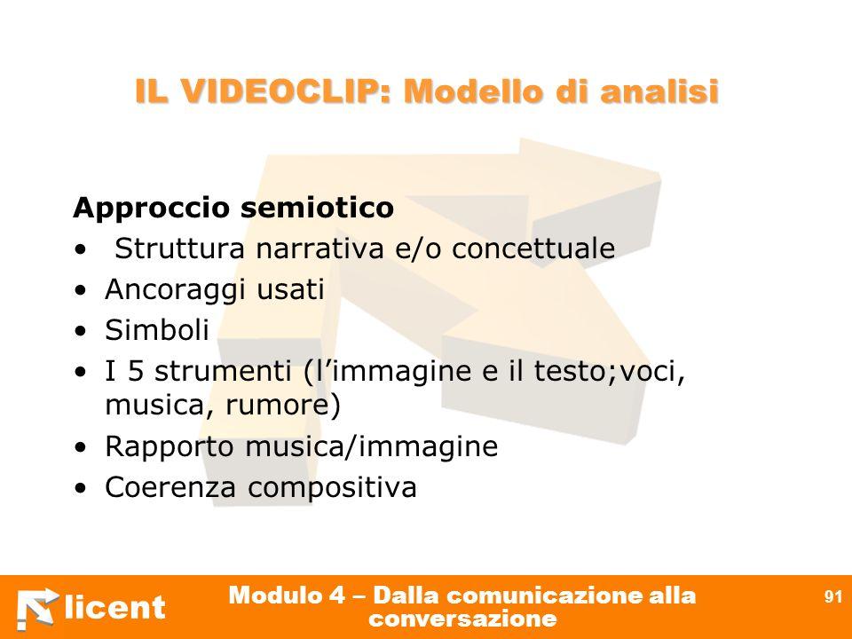 licent Modulo 4 – Dalla comunicazione alla conversazione 91 IL VIDEOCLIP: Modello di analisi Approccio semiotico Struttura narrativa e/o concettuale A