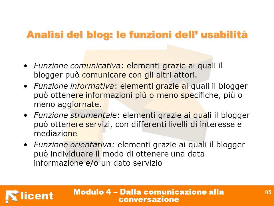licent Modulo 4 – Dalla comunicazione alla conversazione 95 Analisi del blog: le funzioni dell usabilità Funzione comunicativa: elementi grazie ai qua