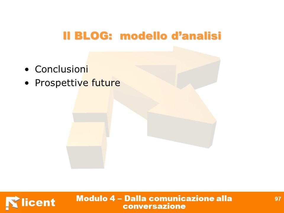 licent Modulo 4 – Dalla comunicazione alla conversazione 97 Il BLOG: modello danalisi Conclusioni Prospettive future
