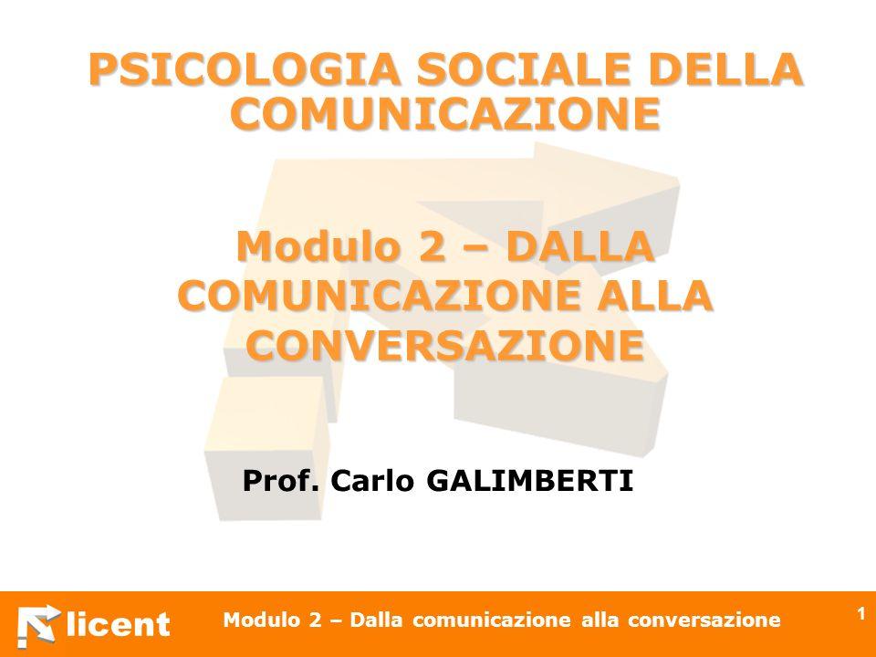licent Modulo 2 – Dalla comunicazione alla conversazione 32 I soggetti sono interlocutori impegnati in unazione comunicativa comune di cui sono corresponsabili non più emittenti o riceventi, non solo locutori-allocutori sono co-enunciatori