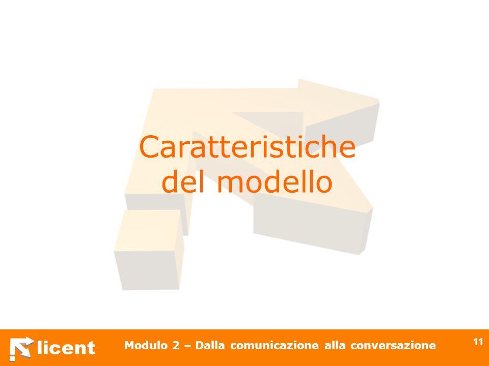 licent Modulo 2 – Dalla comunicazione alla conversazione 11 Caratteristiche del modello