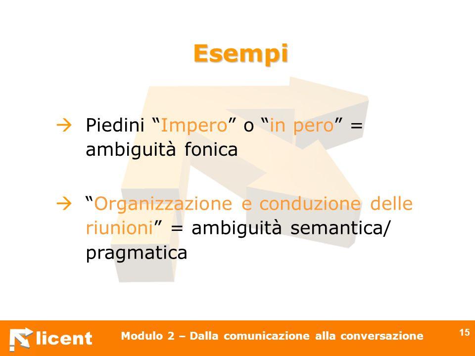 licent Modulo 2 – Dalla comunicazione alla conversazione 15 Esempi Piedini Impero o in pero = ambiguità fonica Organizzazione e conduzione delle riuni