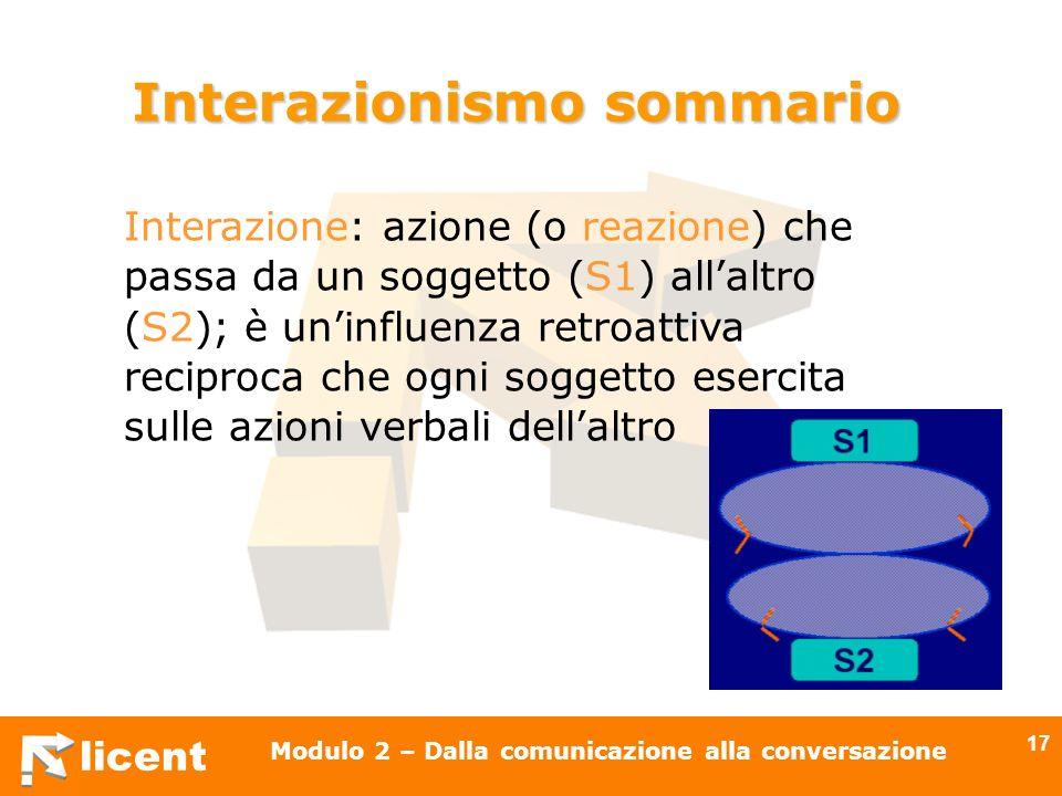 licent Modulo 2 – Dalla comunicazione alla conversazione 17 Interazionismo sommario Interazione: azione (o reazione) che passa da un soggetto (S1) all