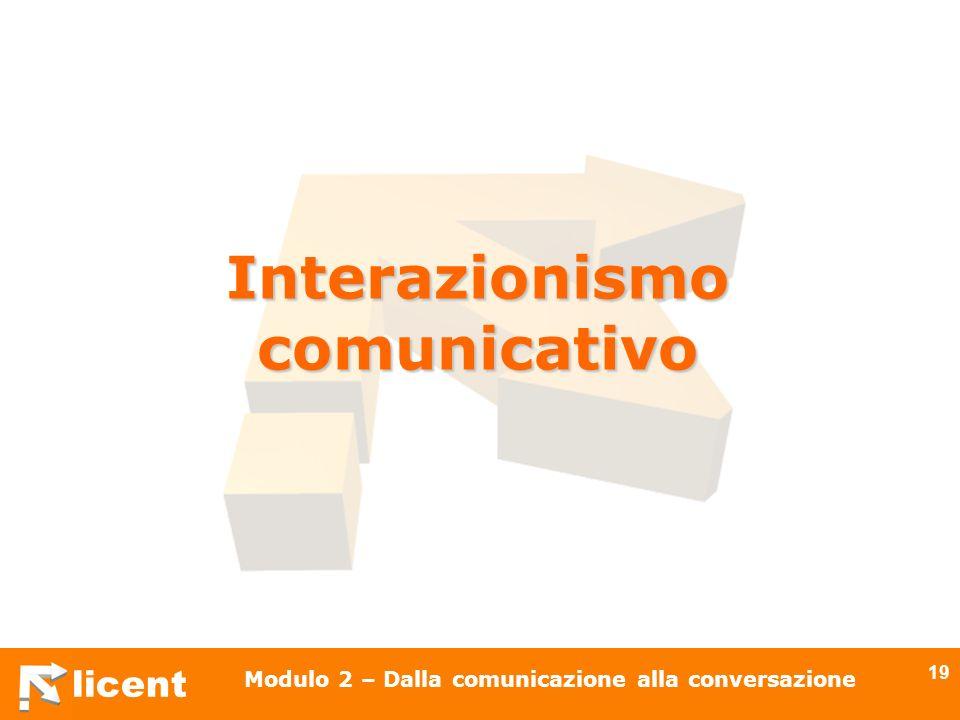licent Modulo 2 – Dalla comunicazione alla conversazione 19 Interazionismo comunicativo