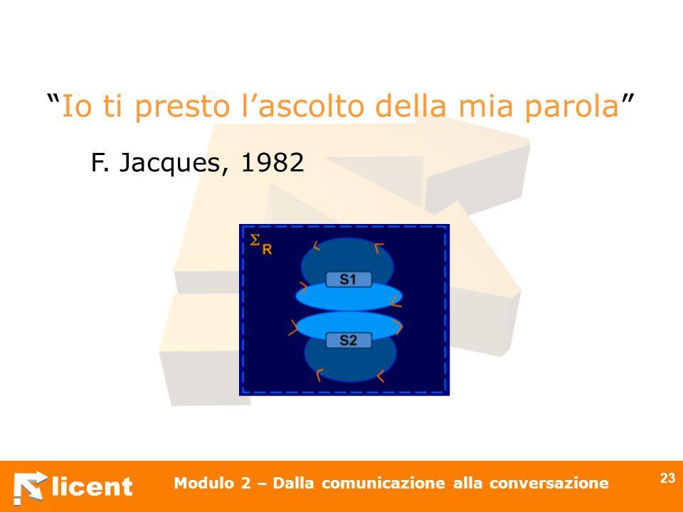 licent Modulo 2 – Dalla comunicazione alla conversazione 23 Io ti presto lascolto della mia parola F. Jacques, 1982