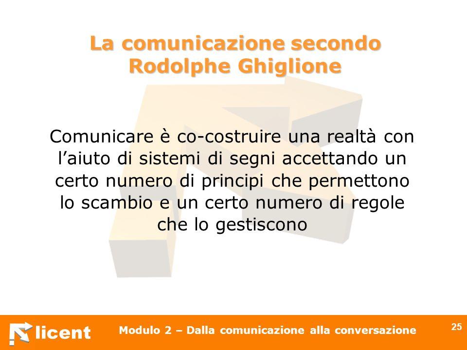 licent Modulo 2 – Dalla comunicazione alla conversazione 25 La comunicazione secondo Rodolphe Ghiglione Comunicare è co-costruire una realtà con laiut