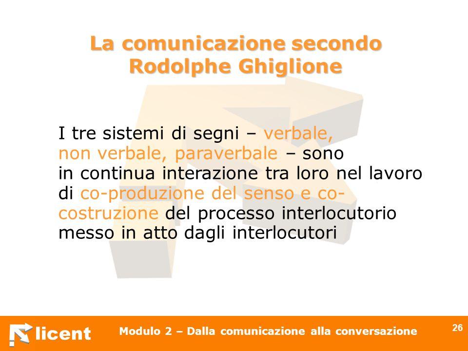 licent Modulo 2 – Dalla comunicazione alla conversazione 26 I tre sistemi di segni – verbale, non verbale, paraverbale – sono in continua interazione