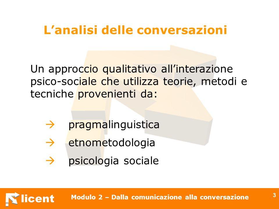 licent Modulo 2 – Dalla comunicazione alla conversazione 14 La lingua non è solo un codice Mancanza di: processi di costruzione dei significati processi inferenziali Alternanza: i soggetti sono sempre contemporaneamente attivi
