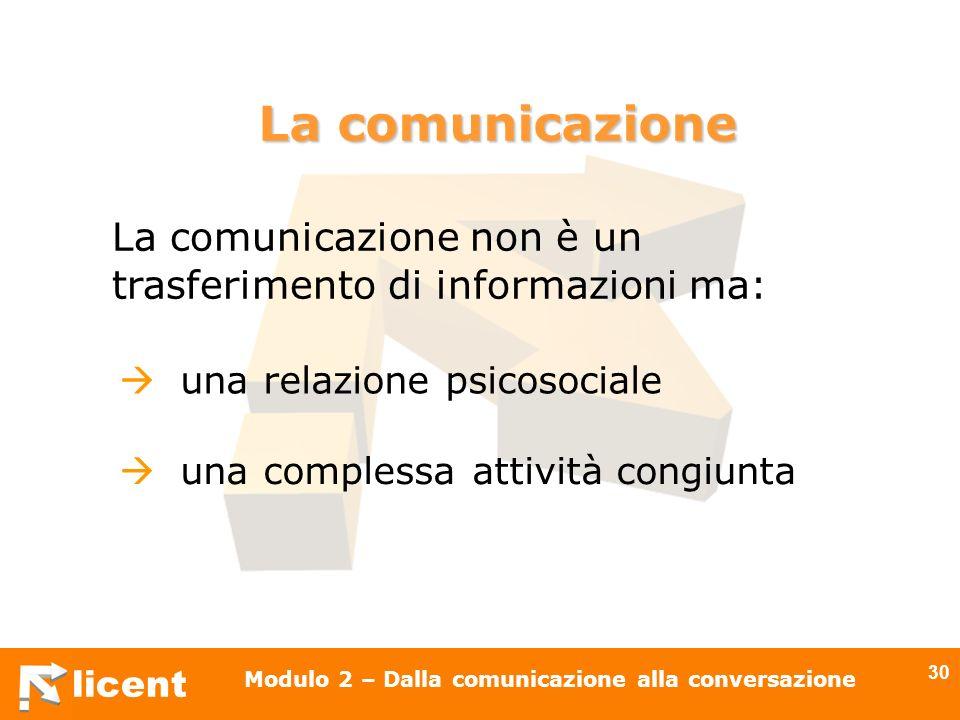 licent Modulo 2 – Dalla comunicazione alla conversazione 30 La comunicazione non è un trasferimento di informazioni ma: una relazione psicosociale una