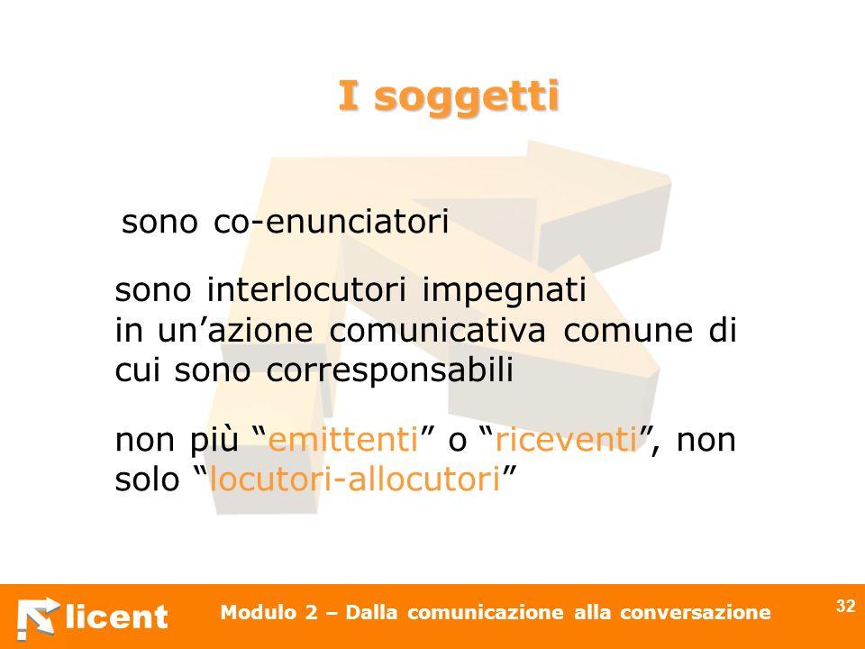 licent Modulo 2 – Dalla comunicazione alla conversazione 32 I soggetti sono interlocutori impegnati in unazione comunicativa comune di cui sono corres