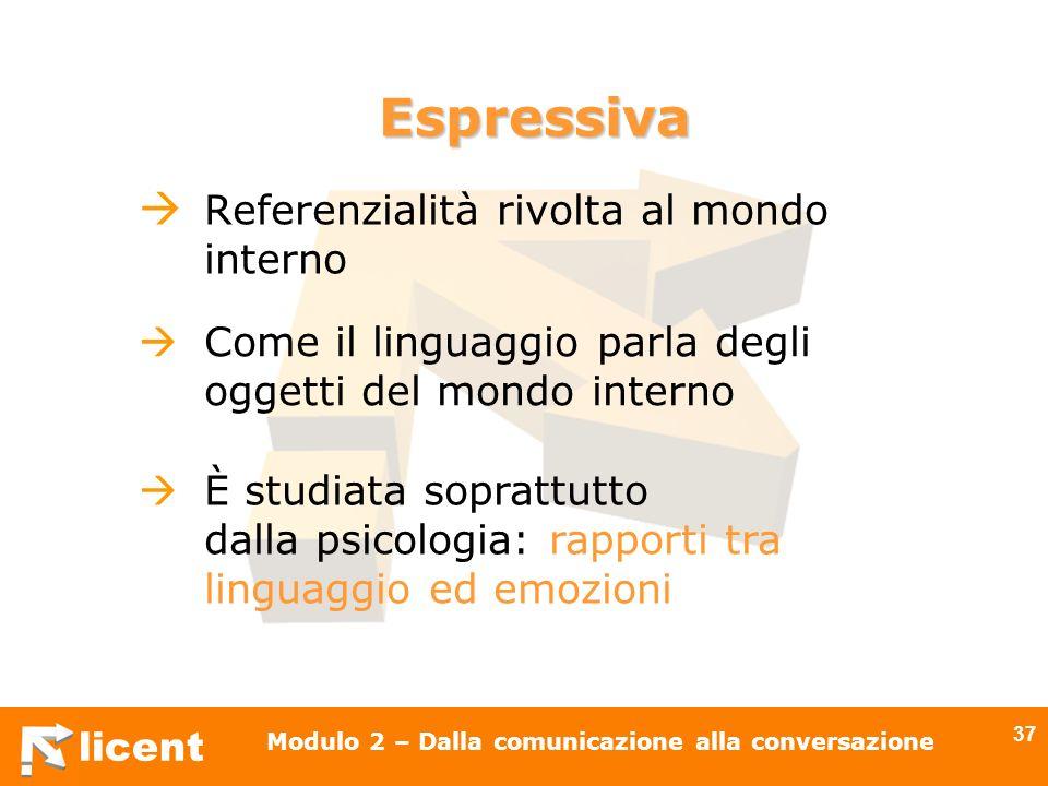licent Modulo 2 – Dalla comunicazione alla conversazione 37 Referenzialità rivolta al mondo interno Come il linguaggio parla degli oggetti del mondo i