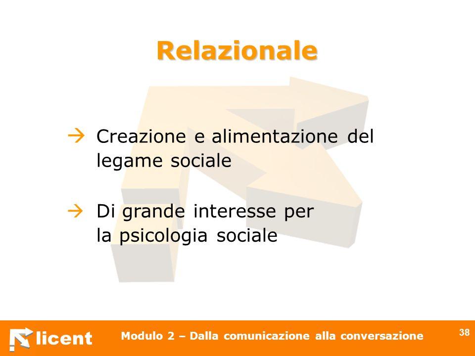 licent Modulo 2 – Dalla comunicazione alla conversazione 38 Creazione e alimentazione del legame sociale Relazionale Di grande interesse per la psicol