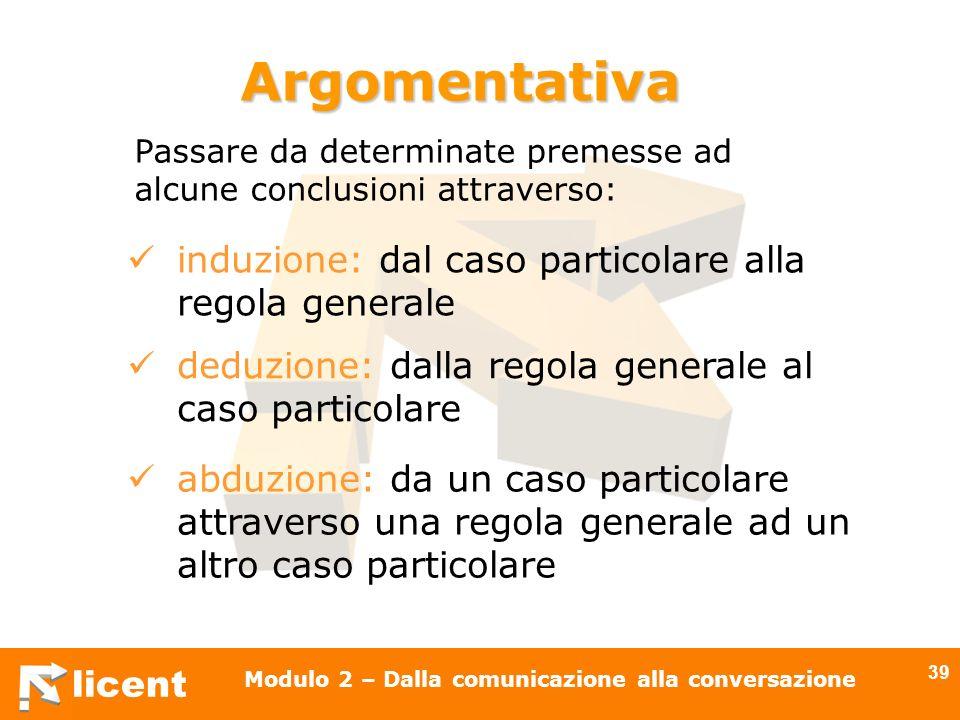 licent Modulo 2 – Dalla comunicazione alla conversazione 39 Passare da determinate premesse ad alcune conclusioni attraverso: Argomentativa induzione: