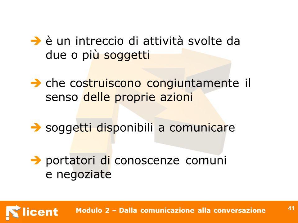 licent Modulo 2 – Dalla comunicazione alla conversazione 41 è un intreccio di attività svolte da due o più soggetti che costruiscono congiuntamente il